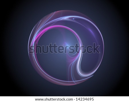Purple blue plasma fractal sphere against black background - computer generated high resolution fractal graphic