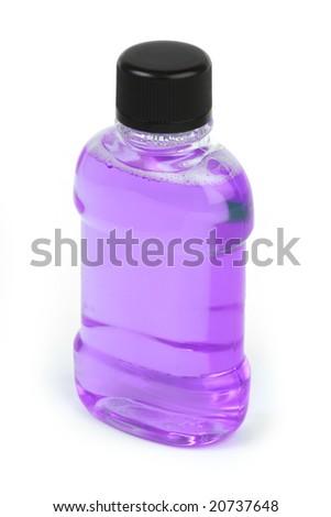 Purple Bottle Of Mouthwash Isolated On A White Background Stock ...