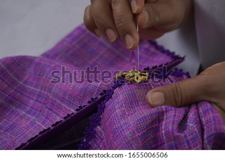Purple button stitching, new dress shirts