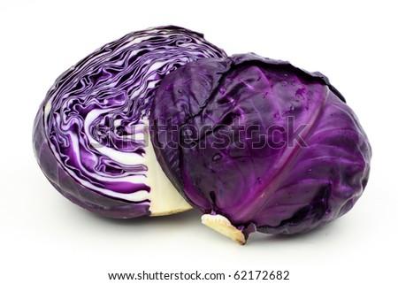 Purple cabbage isolated on white background