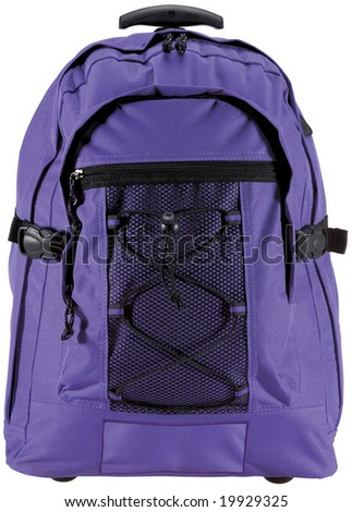 Purple canvas backpack isolated on white with clipping path