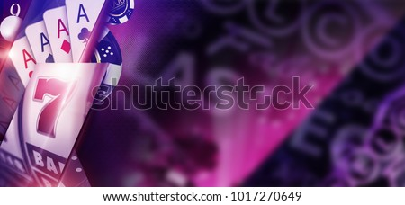 Purple Casino Banner Concept. 3D Rendered Illustration of Casino Money Games Like Poker Cards and Slot Machine with Copy Space and Las Vegas Strip Sign Elements.
