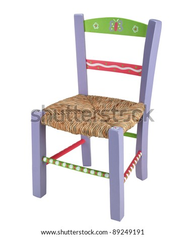 purple children chair isolated on white background