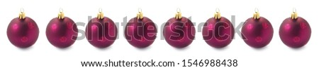 Purple Christmas Baubles In A Row #1546988438