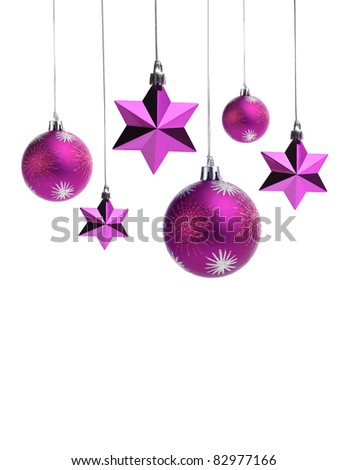 Purple christms balls and stars isolated on white.