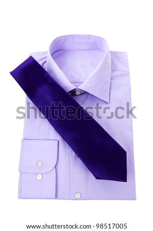 Purple classic business shirt and neck tie over white background