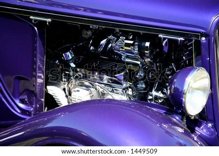 Purple Classic Car with Chrome Engine - stock photo
