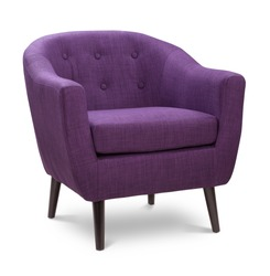 Purple color armchair. Modern designer chair on white background. Textile chair.