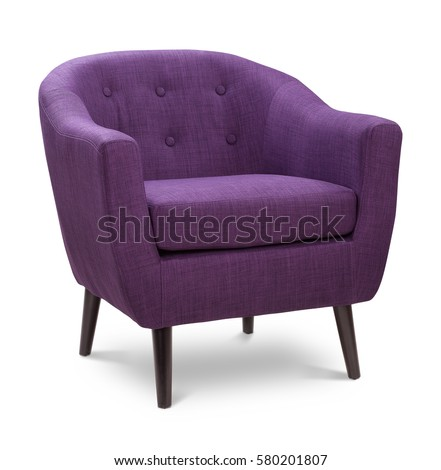 Purple color armchair. Modern designer chair on white background. Textile chair.  #580201807
