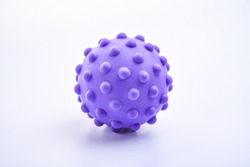 purple colorful bright isolated spiky ball toy, macro