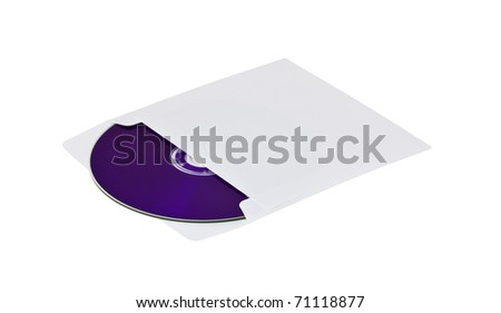 purple compact disk into envelope isolated on white background