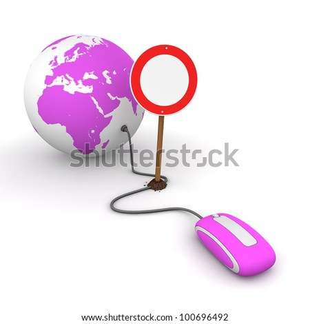 purple computer mouse is connected to a purple globe - surfing and browsing is blocked by a red-white no passing sign that cuts the cable