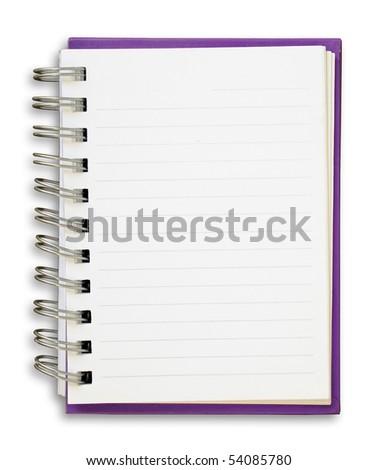 Purple cover of open white note book - stock photo