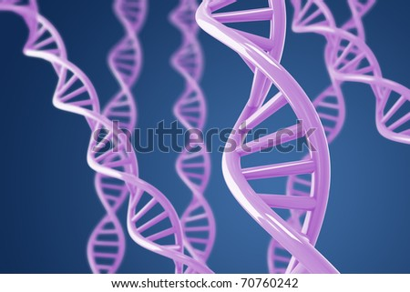 Purple DNA helices on a blue background with shallow DOF
