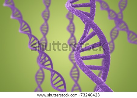 Purple DNA helices on a green background with shallow DOF