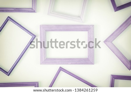 Purple empty frames laid out on a white background. Layout for the layout. Photo with space for text and images. #1384261259