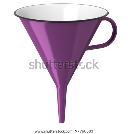 Purple enamel funnel isolated on white background