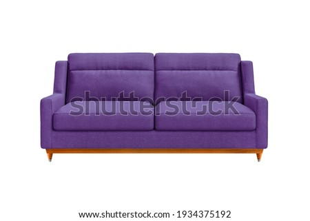 Purple fabric sofa on wooden legs isolated on white background. Series of furniture Foto stock ©
