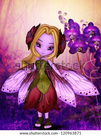 purple fairy and violet - stock photo
