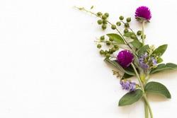 purple flower amaranth arrangement flat lay postcard style on background white wooden