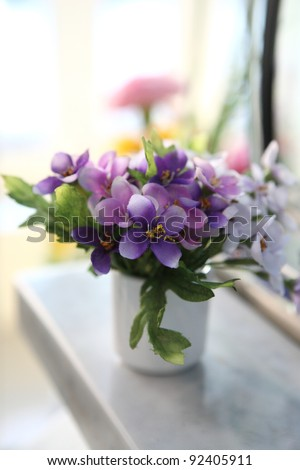 Purple flower in jar