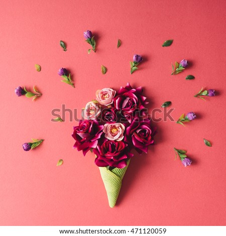 Purple flowers and green icecream cone on pink background. Flat lay. #471120059
