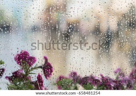Purple flowers behind the wet window with rain drops, blurred street bokeh. Concept of spring weather, seasons, modern city. Place for text, for abstract background
