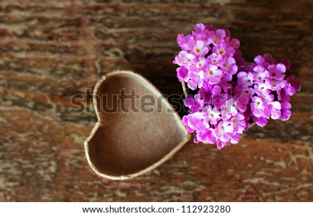 purple flowers  in a box for a gift. Soft Focus