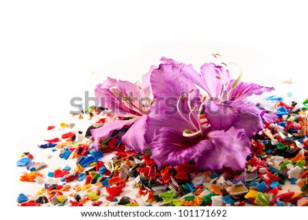 Purple flowers on a background of grinding plastic lids from plastic bottles - stock photo