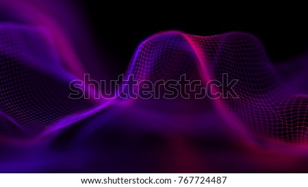 Purple Futuristic technology background. Line connect cyber particles. 3d surface.