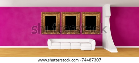 Purple gallery's hall with white sofa