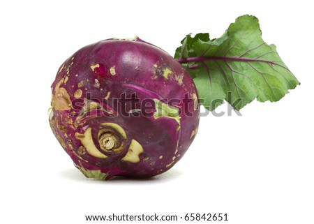 Purple German Turnip with leaf from low perspective isolated on white.