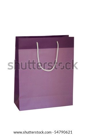 PURPLE GIFT BAG EMPTY ISOLATED ON WHITE BACKGROUND