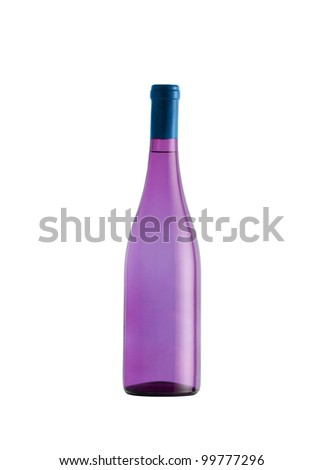 Purple glass bottle isolated on white background