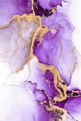 Purple gold abstract background of marble liquid ink art painting on paper . Image of original artwork watercolor alcohol ink paint on high quality paper texture .
