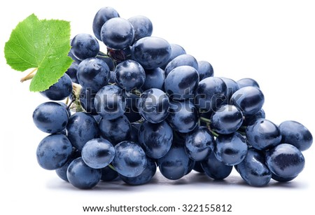 Purple grape with green leaf isolated on white background. #322155812
