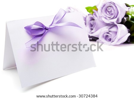 Purple greeting card and roses
