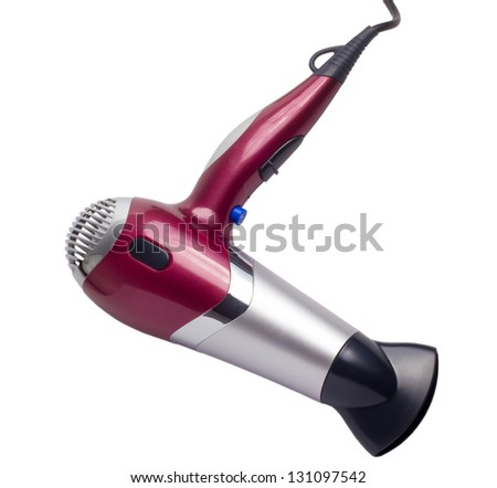 purple hair dryer isolated background clipping path