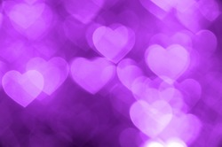purple heart bokeh background photo, abstract holiday backdrop