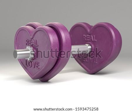Purple heart-shaped dumb-bell, 3d rendering