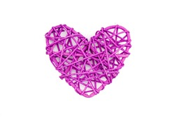 purple  heart shaped rattan, isolated on white background, flat lay, directly above, copy space