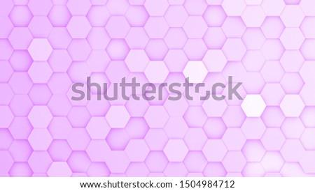 Purple hexagonal grid in a random pattern. 3D computer generated image.