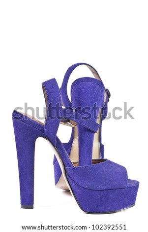 Purple high heel women shoes. Studio shot. Isolated on white background