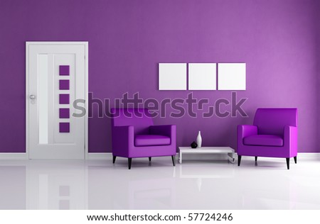 purple home entrance with two leather armchair - rendering - stock photo