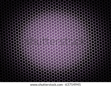 Purple honeycomb background 3d illustration or backdrop with light effect
