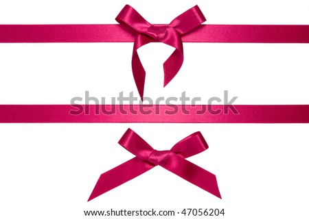 purple horizontal ribbons with bow isolated on white - stock photo