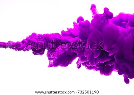 purple ink in water isolated on white background.