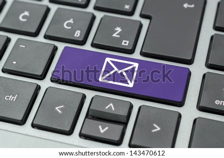 Purple key with email symbol on computer keyboard.