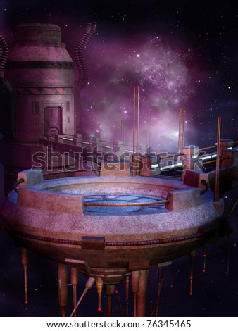 Purple landscape with a futuristic space station