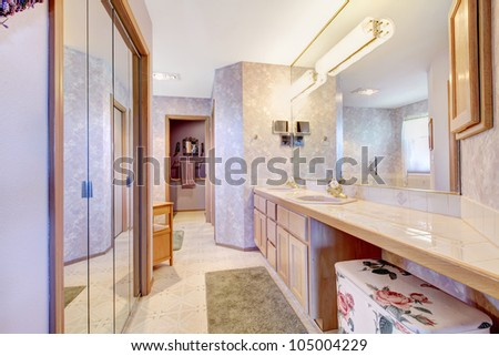 Large Bathroom Mirrors on Purple Large Old Bathroom With Mirror And Long Cabinet  Stock Photo